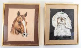 Ann Cuthrell Signed Two Animal Pastel Sketches