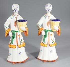 Tiffany Pair of Chinese Porcelain Candlesticks