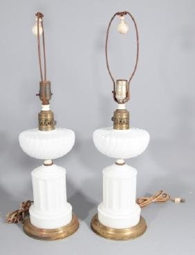 Pair Mid Century Milk Glass Table Lamps