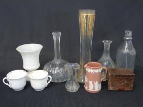 Collection w Lidded Stone Box, Wedgwood Jasperware