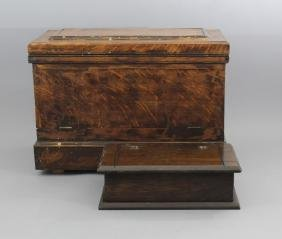 Two Antique & Vintage Carved Wood Tool Chests