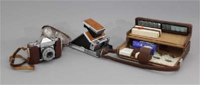 2 Vintage Cameras Zeiss Contaflex  Polaroid SX70
