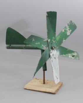 Vintage Green Tin Farm Whirligig Weathervane