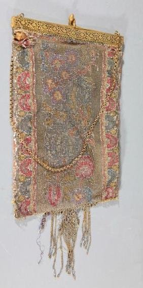 Antique Beaded Fringed Purse with Bronze Top/Chain