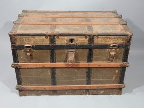 Antique Steamer Trunk with Wood Slats