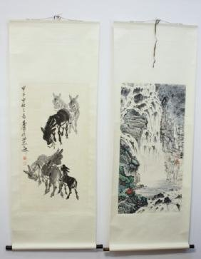 Pair of Asian Scrolls with Nature Scenes