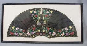 Framed Chinese Silk-Embroidered Collar Textile