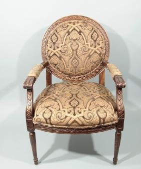 Carved & Upholstered French Style Armchair