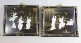 Pair Chinese Hardwood & Stone Inlay  Wall Plaques