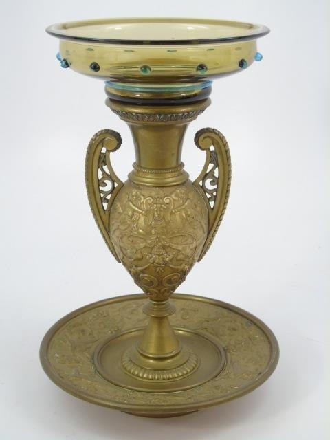 Antique 19th C Victorian Gilt Bronze Putti Vase