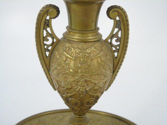 Antique 19th C Victorian Gilt Bronze Putti Vase - 3