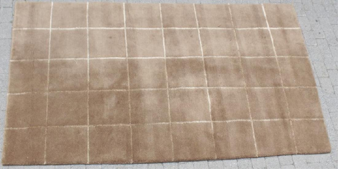 Contemporary Knotted Wool Plaid Design Carpet