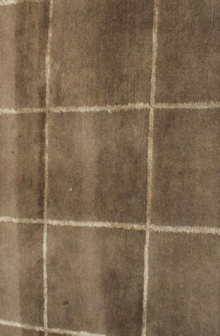 Contemporary Knotted Wool Plaid Design Carpet - 2