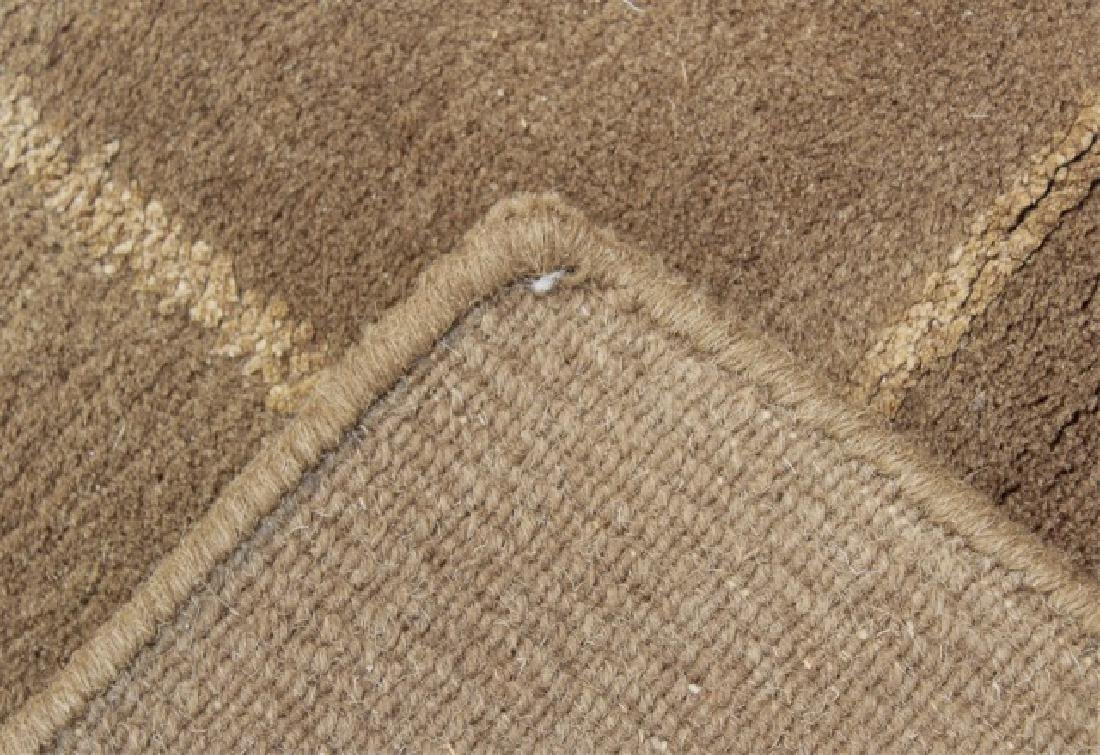 Contemporary Knotted Wool Plaid Design Carpet - 6