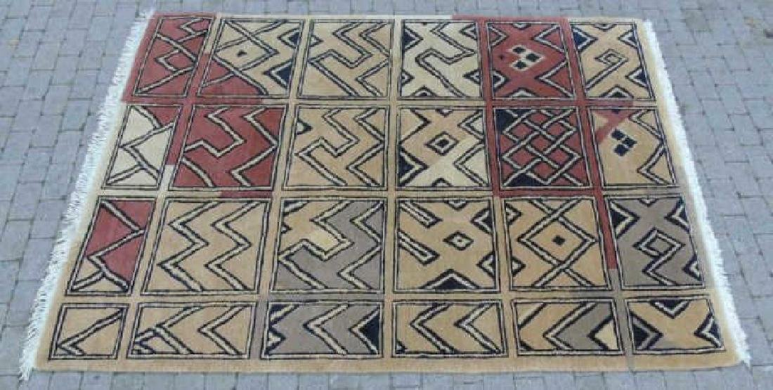 Contemporary Hand Knotted Tibetan Wool Pile Rug