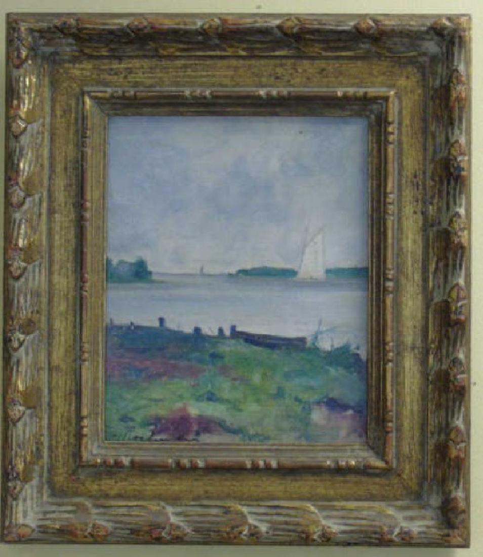 Evert Jan Ligtelign Oil on Canvas River Scene