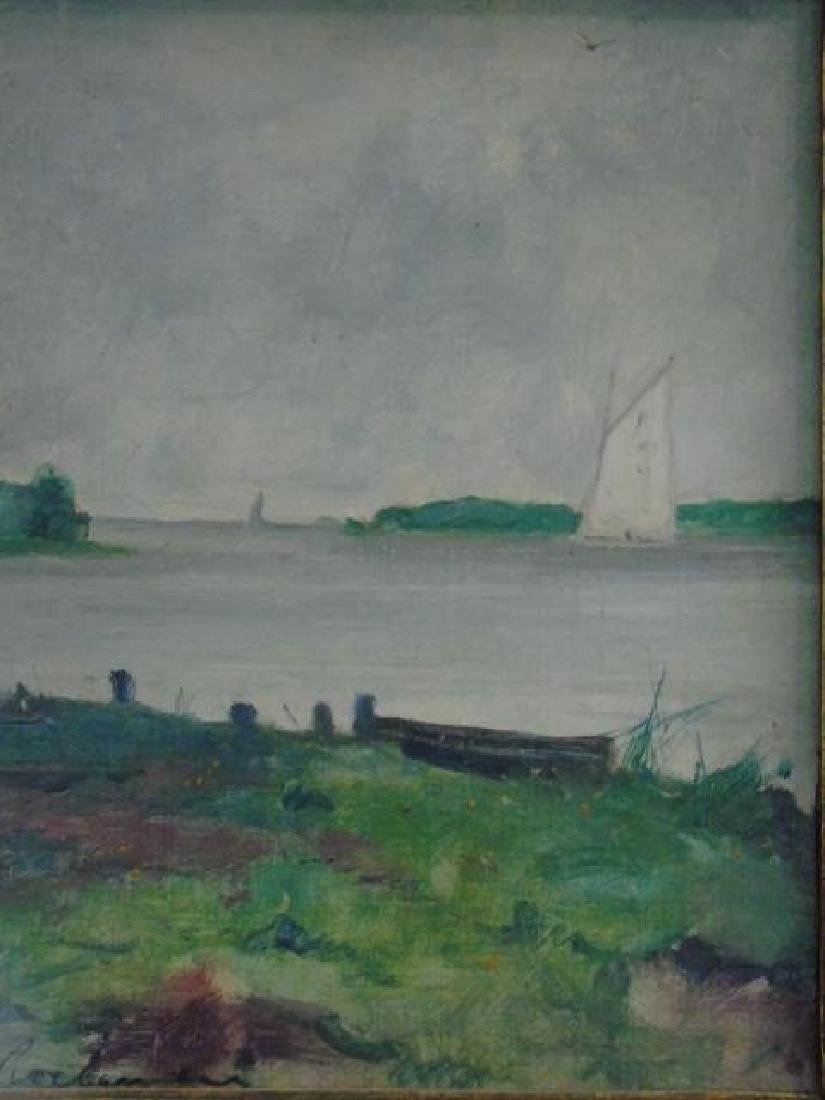 Evert Jan Ligtelign Oil on Canvas River Scene - 2