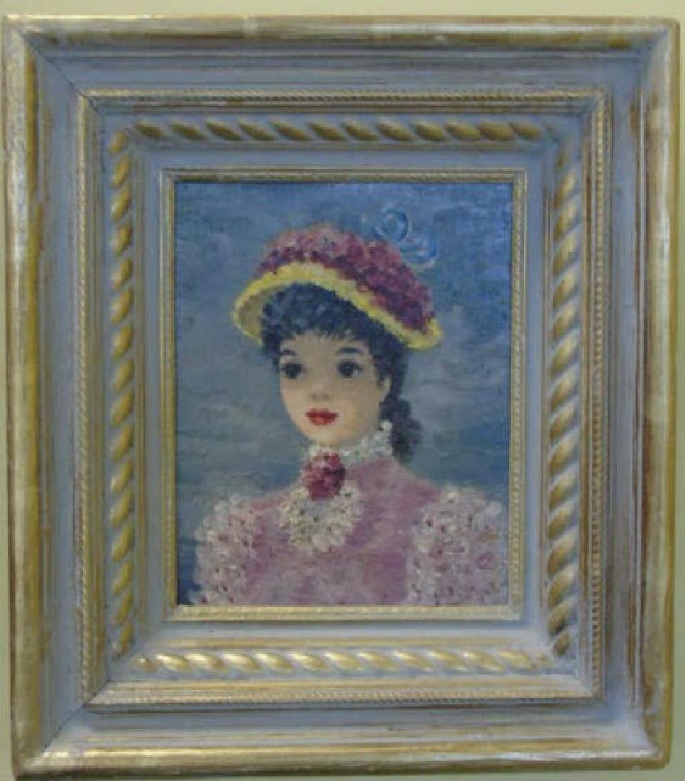 Suzanne Disedieck Oil on Canvas Young Lady in Pink