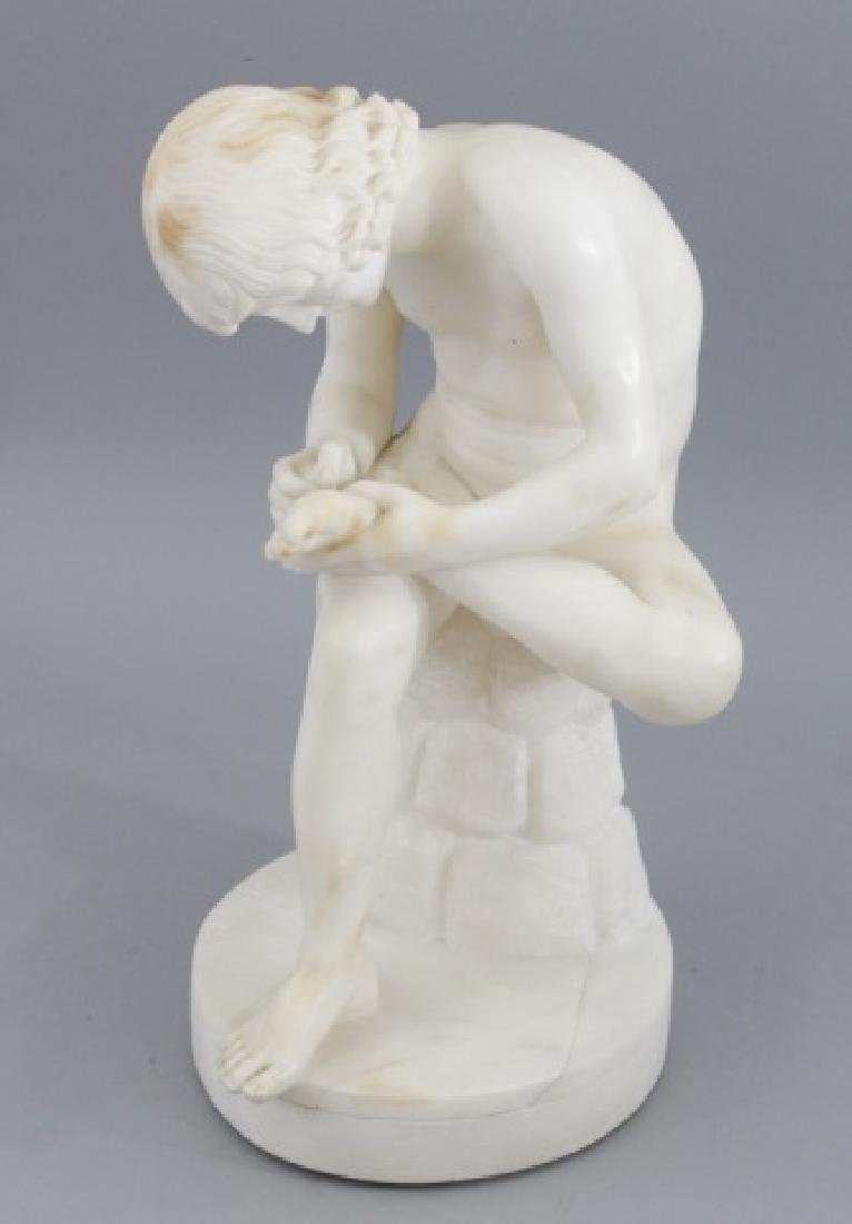 Antique 19th C Carved Marble Boy w Thorn Statue