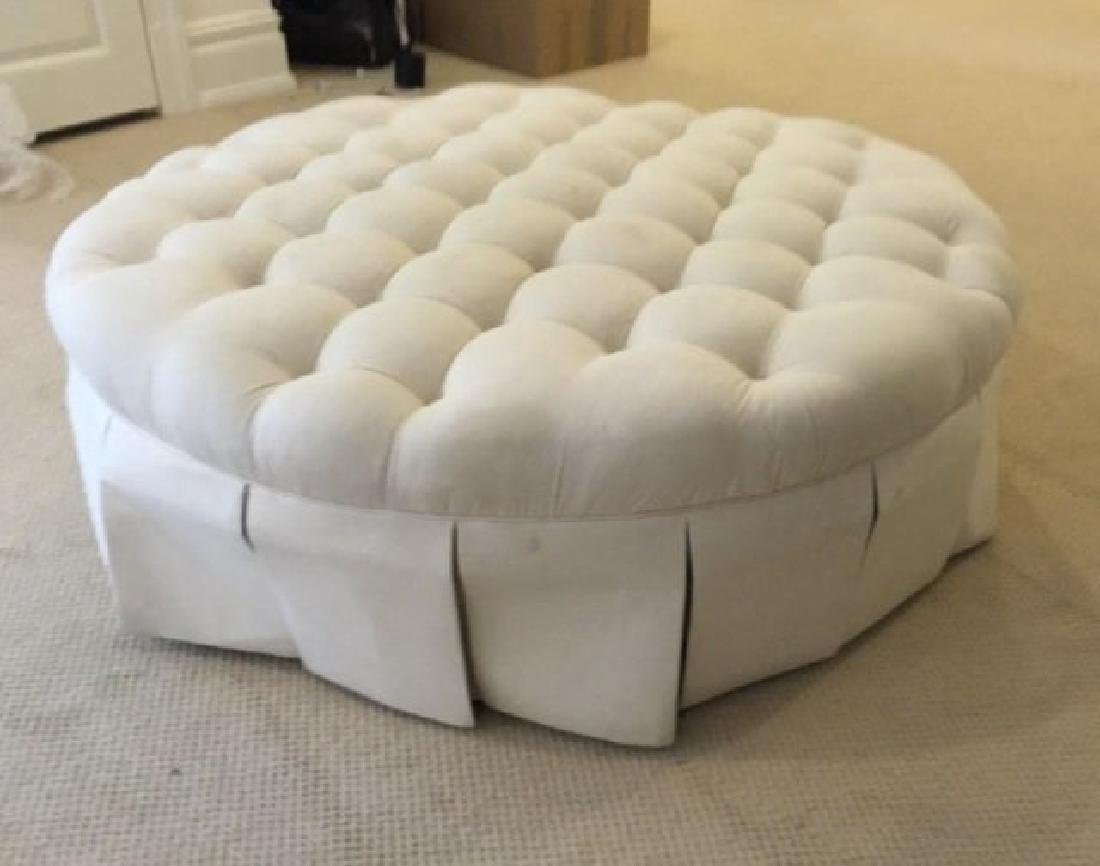 Custom Contemporary Large Round Tufted Ottoman