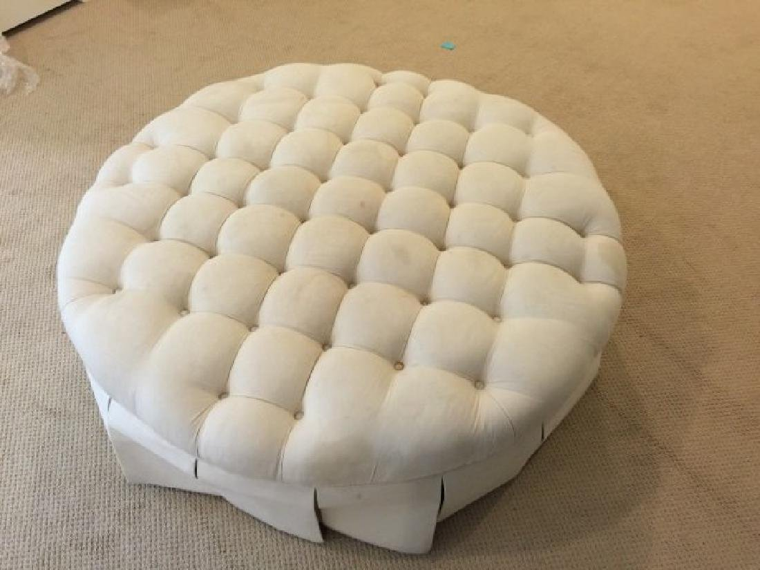 Custom Contemporary Large Round Tufted Ottoman - 2