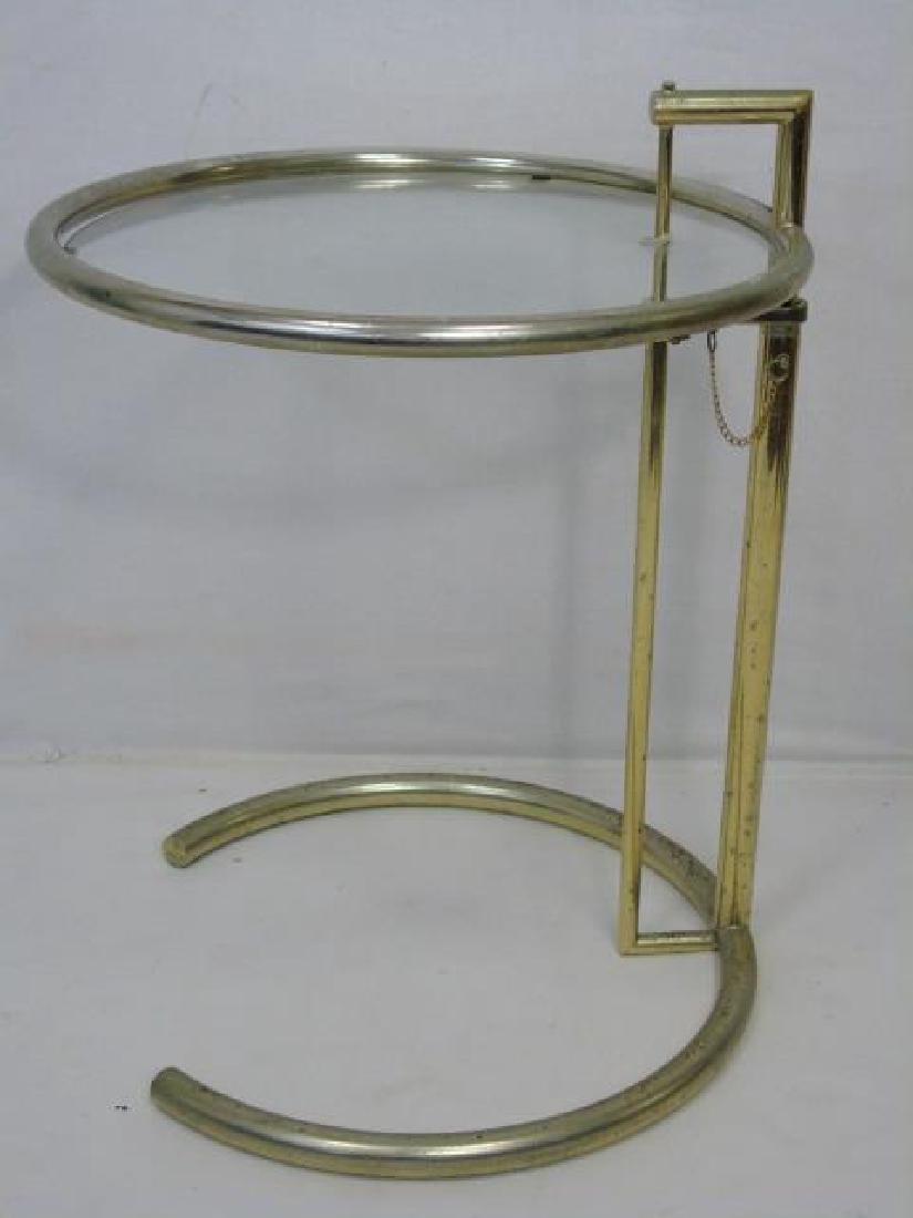 Contemporary Modern Silver Tone & Glass Table