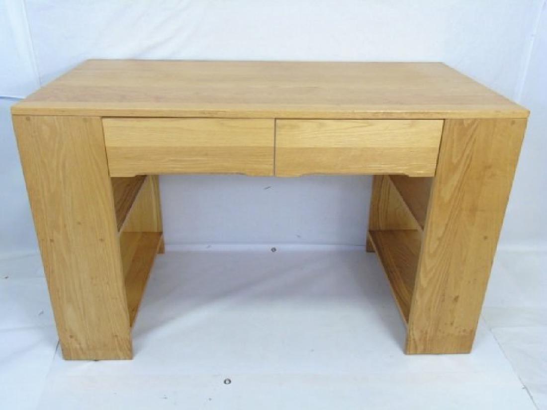 Custom Contemporary Modern Carved Oak Desk