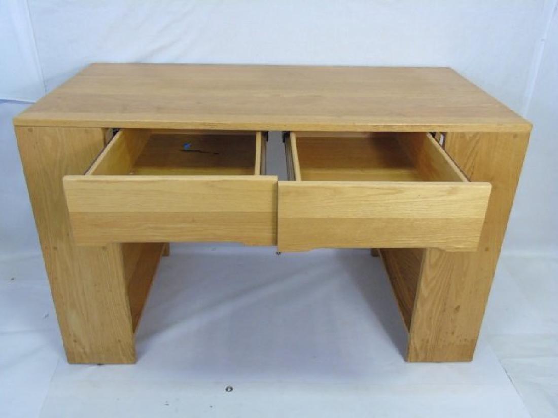 Custom Contemporary Modern Carved Oak Desk - 4