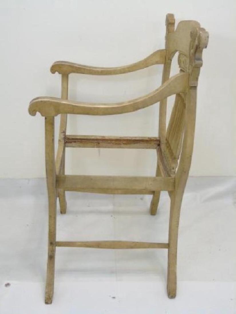 Antique Italian Savonarola Style Wood Arm Chair - 5