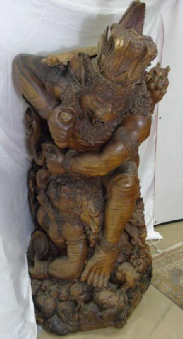 Large Hand Carved Indonesian Warrior Statue