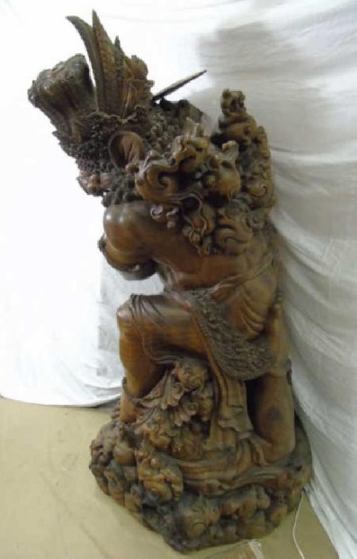 Large Hand Carved Indonesian Warrior Statue - 2