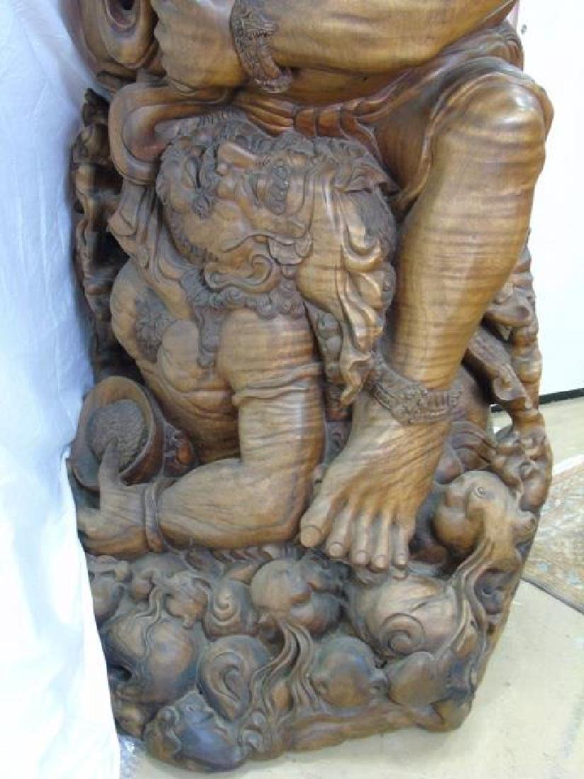 Large Hand Carved Indonesian Warrior Statue - 7