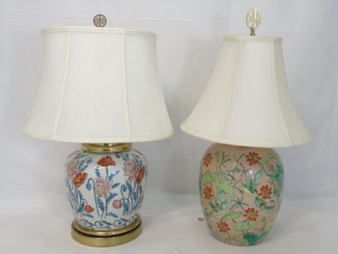 2 Chinese Porcelain Floral Vase Lamps w Poppies
