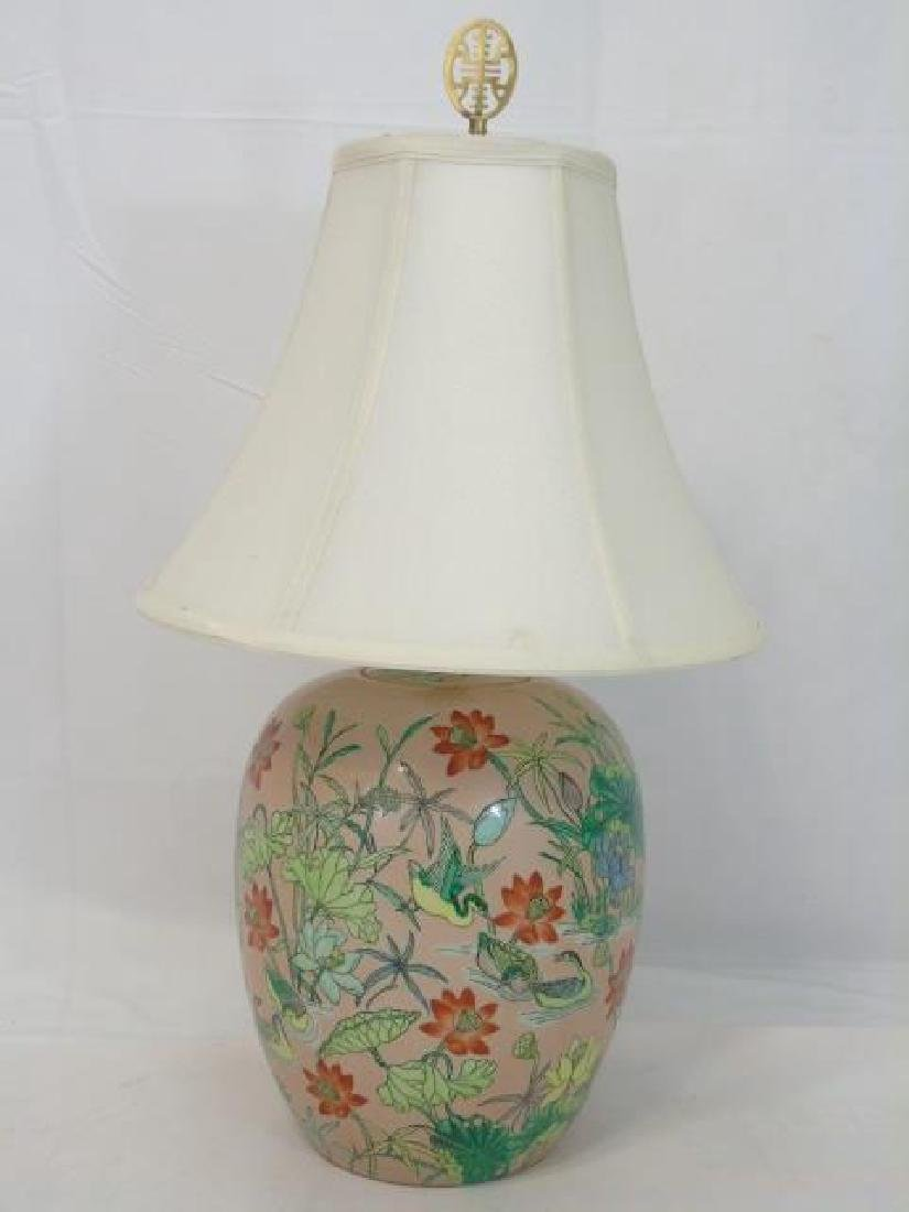 2 Chinese Porcelain Floral Vase Lamps w Poppies - 2