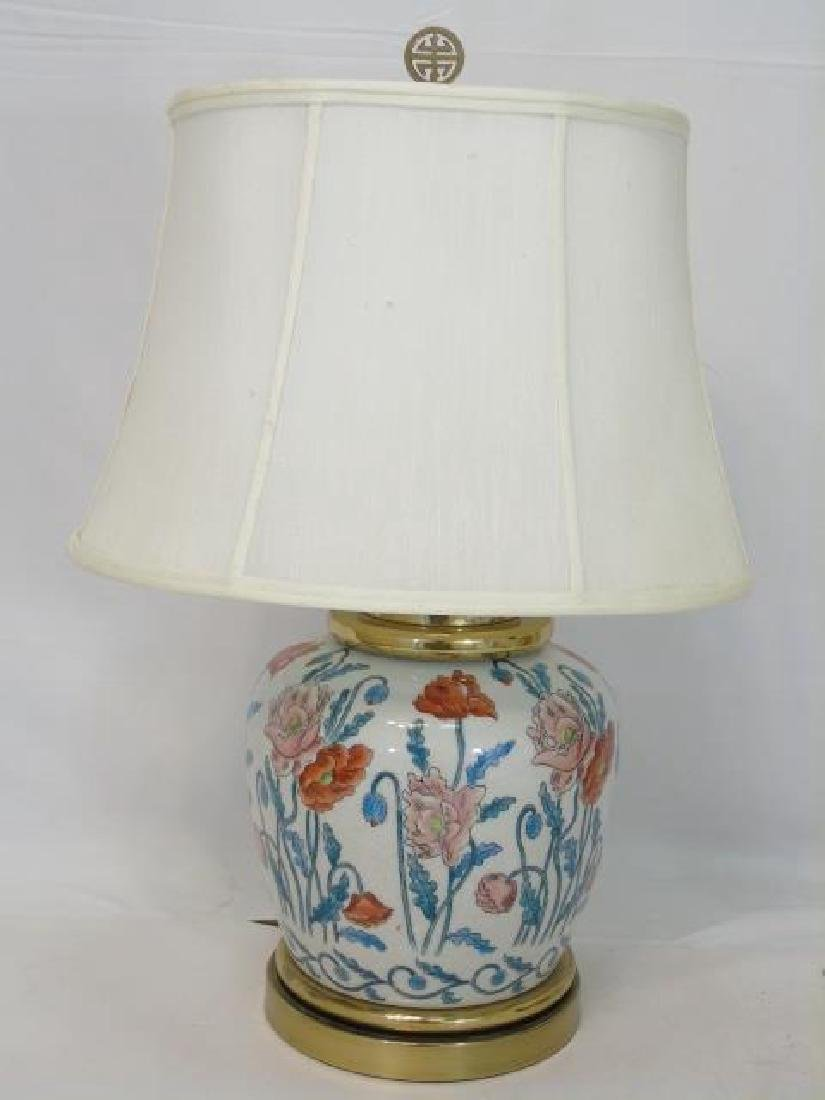2 Chinese Porcelain Floral Vase Lamps w Poppies - 3