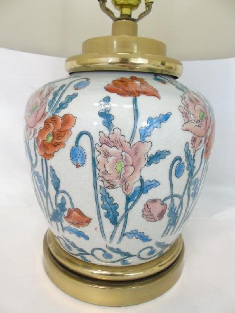 2 Chinese Porcelain Floral Vase Lamps w Poppies - 4