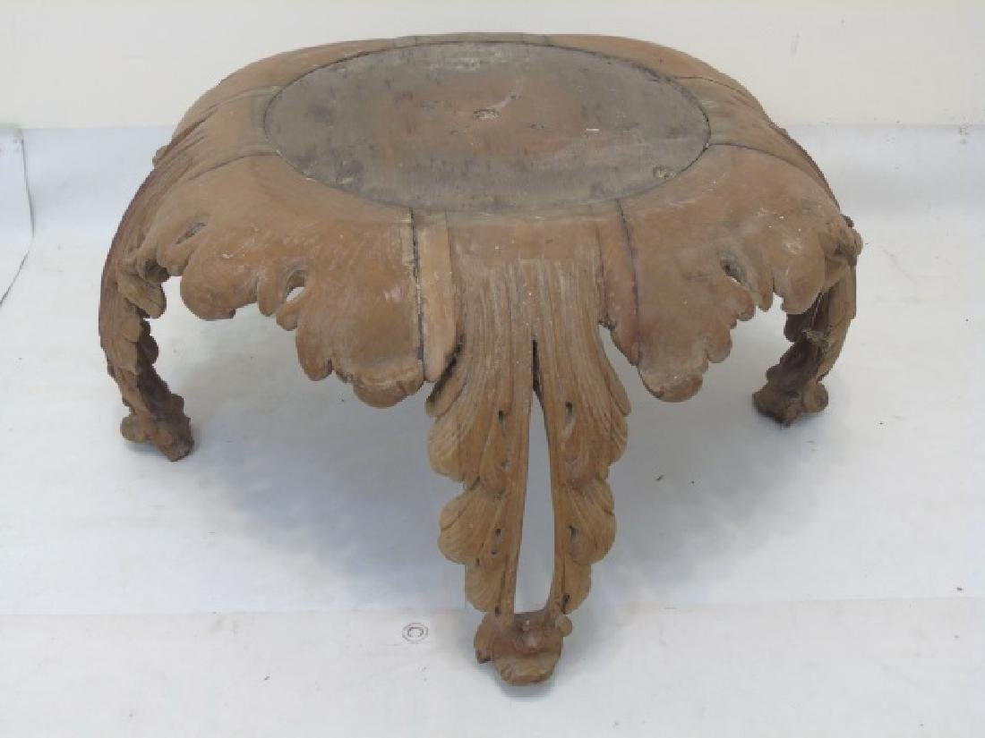 Antique Hand Carved Wooden Acanthus Leaf Table - 3