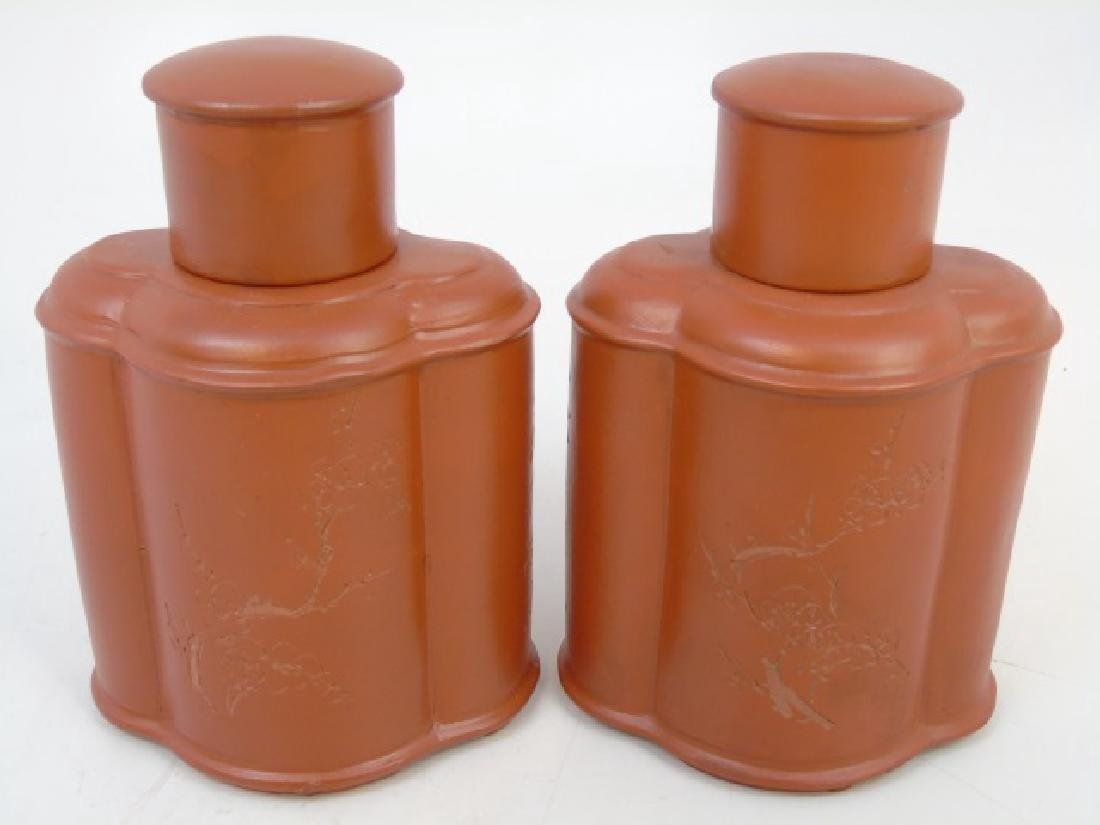 Pair Inscribed Pottery Chinese Tea Caddies - 2