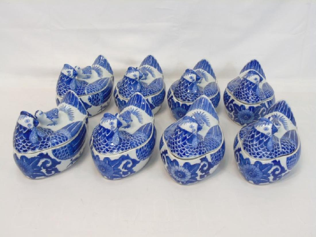 Group Blue & White Porcelain Hens w Tops by S.Mann