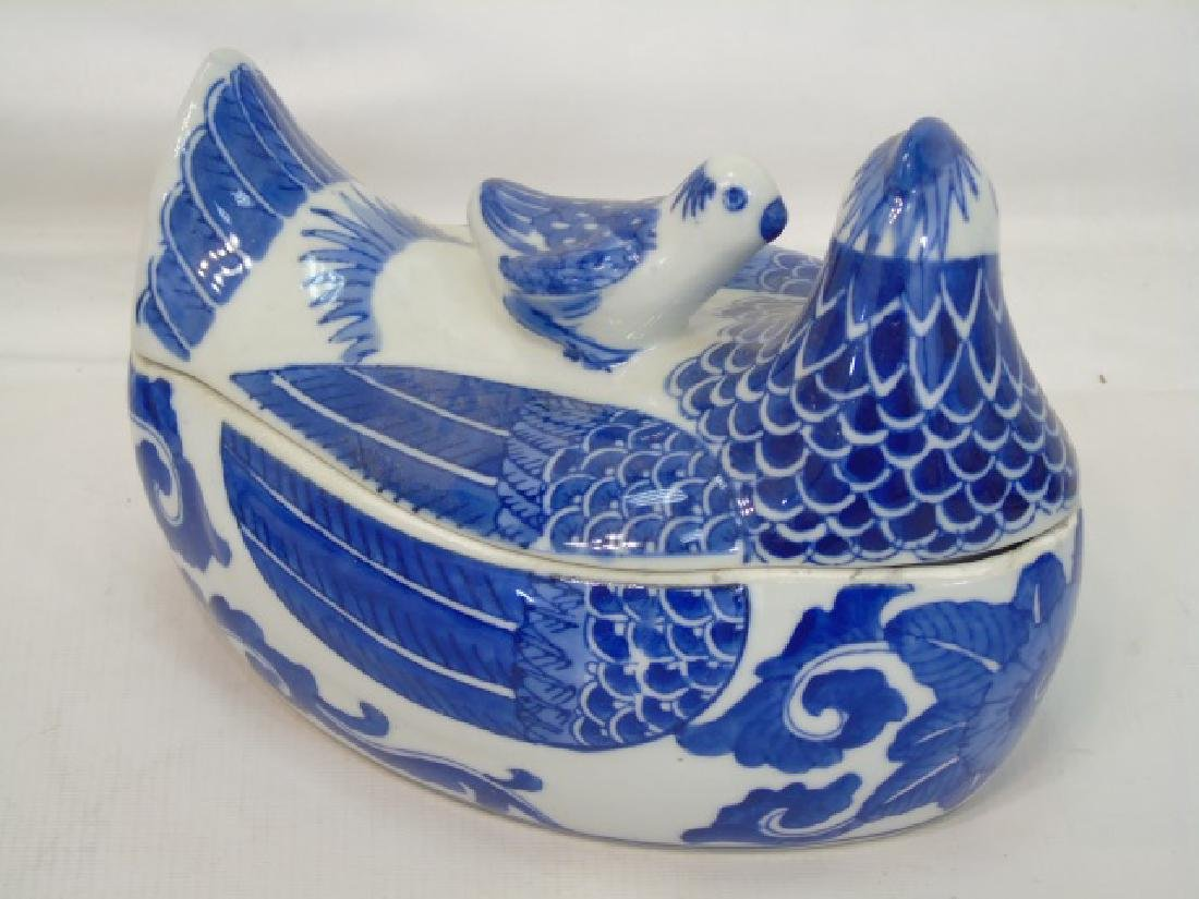 Group Blue & White Porcelain Hens w Tops by S.Mann - 2