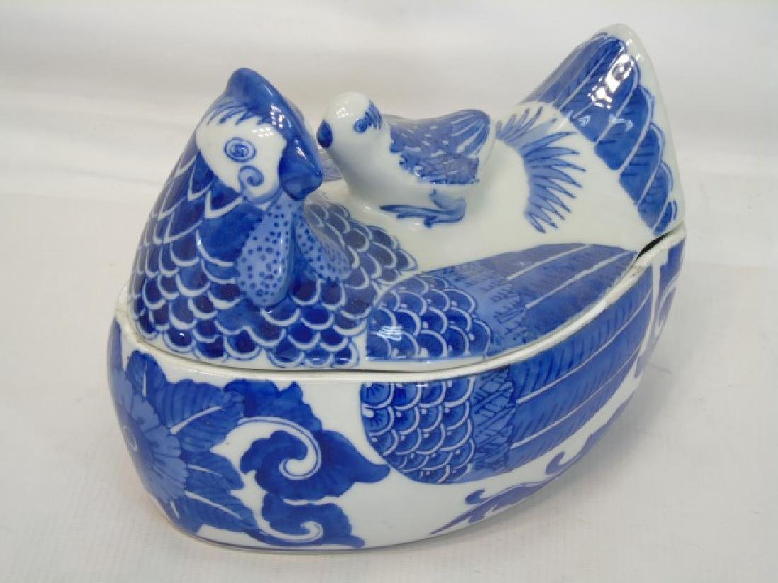 Group Blue & White Porcelain Hens w Tops by S.Mann - 3