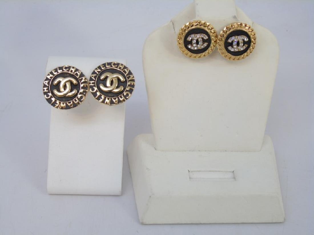 Two Pairs Chanel Clip on Costume Jewelry Earrings