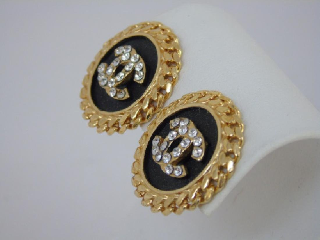 Two Pairs Chanel Clip on Costume Jewelry Earrings - 2