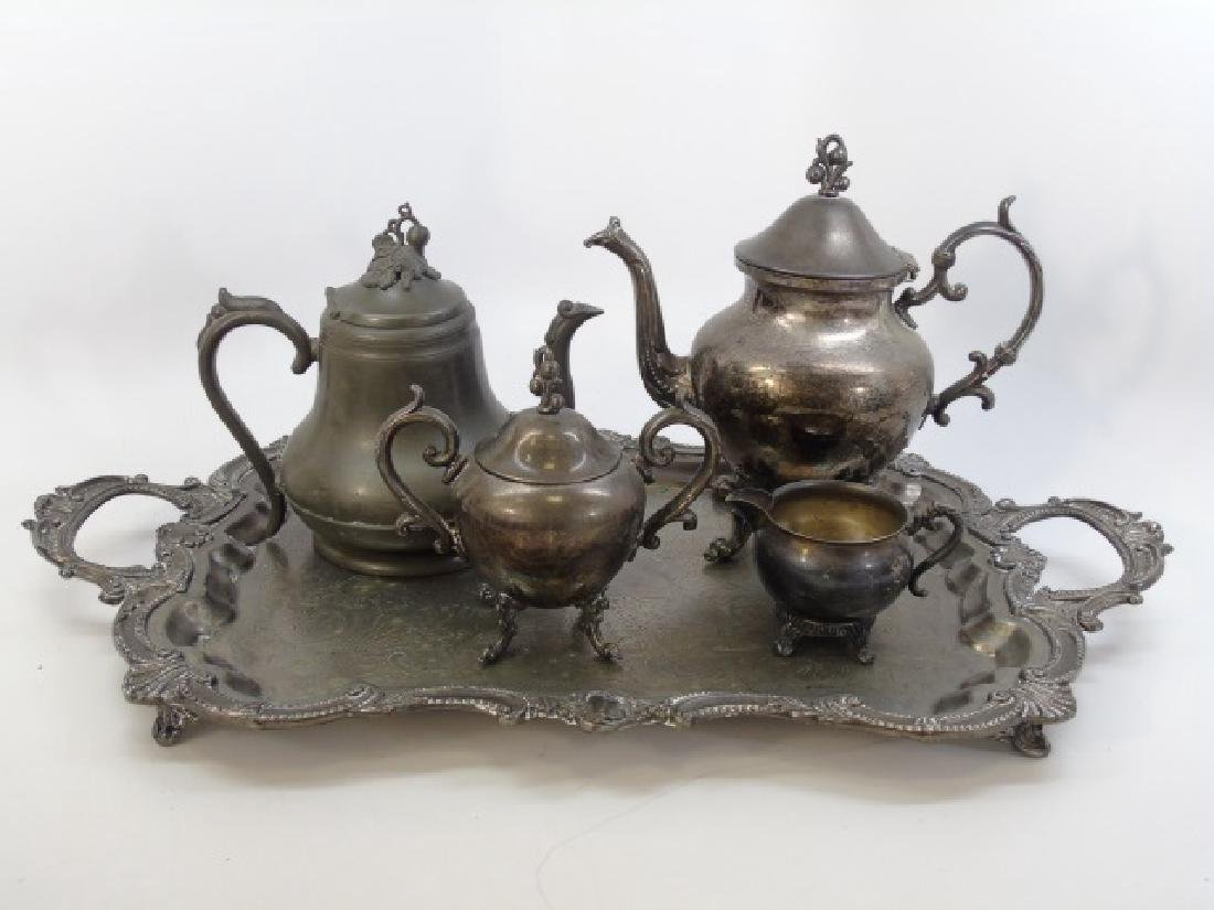 Antique 5 Piece Silver Plate Tea Set w Berry Motif