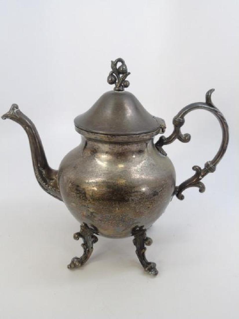 Antique 5 Piece Silver Plate Tea Set w Berry Motif - 3