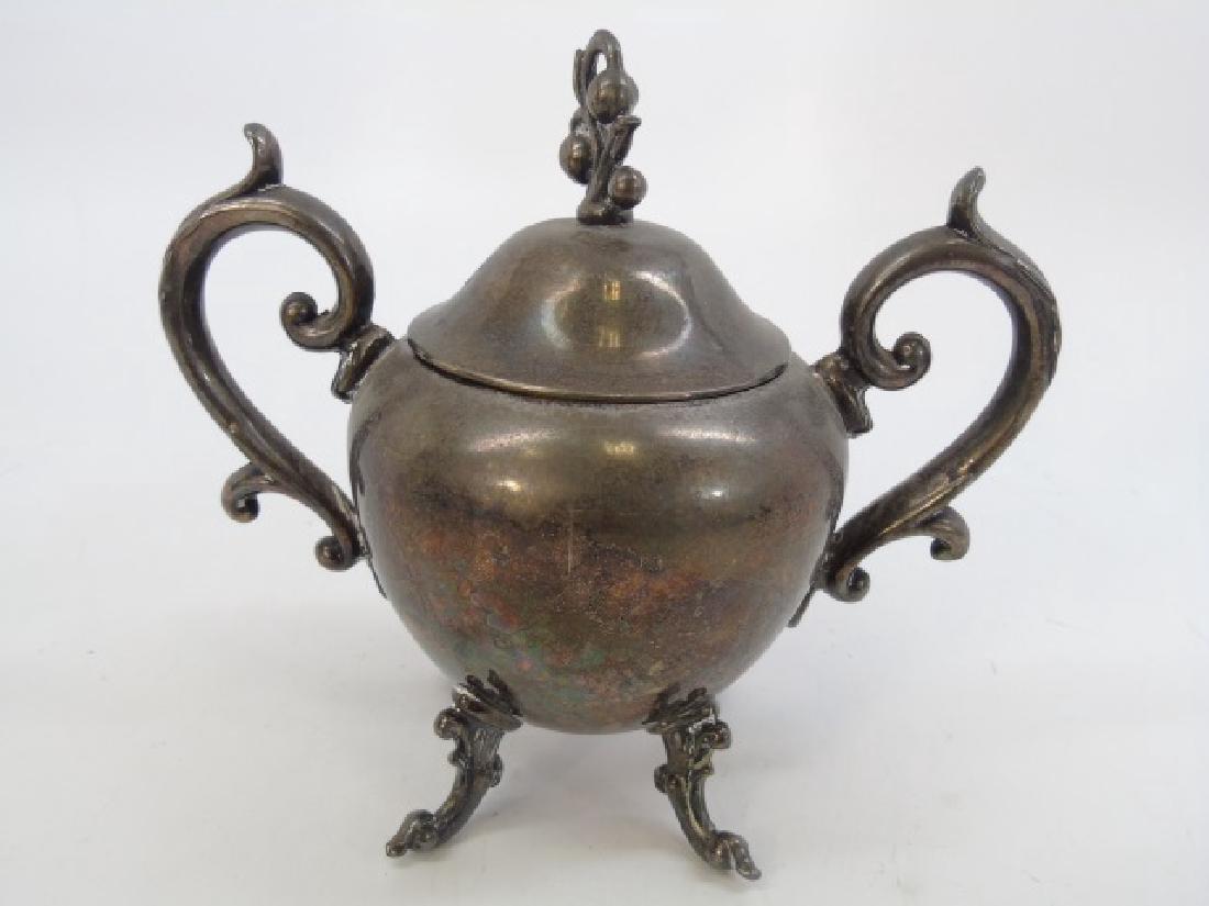 Antique 5 Piece Silver Plate Tea Set w Berry Motif - 6