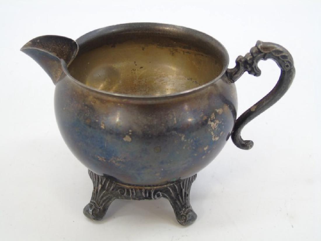 Antique 5 Piece Silver Plate Tea Set w Berry Motif - 7