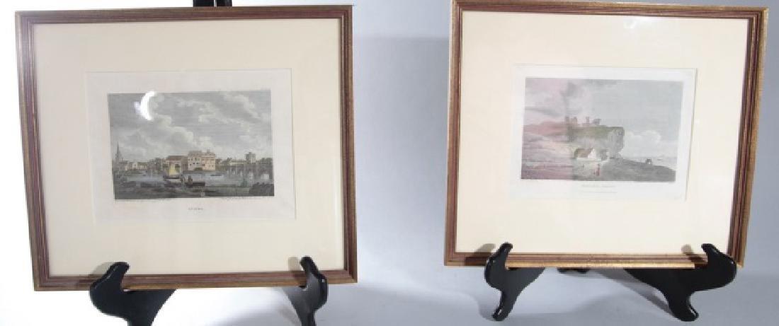 Pair English Engravings St. Ives & Hastings Castle