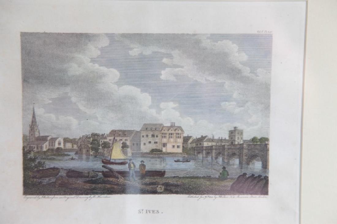 Pair English Engravings St. Ives & Hastings Castle - 4