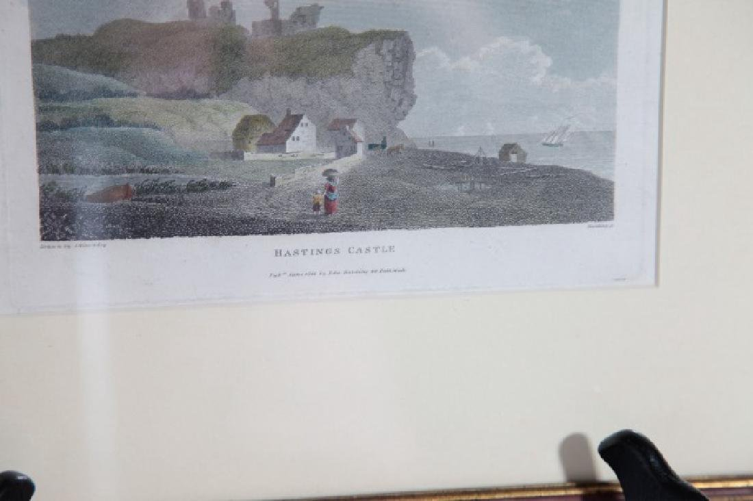 Pair English Engravings St. Ives & Hastings Castle - 5